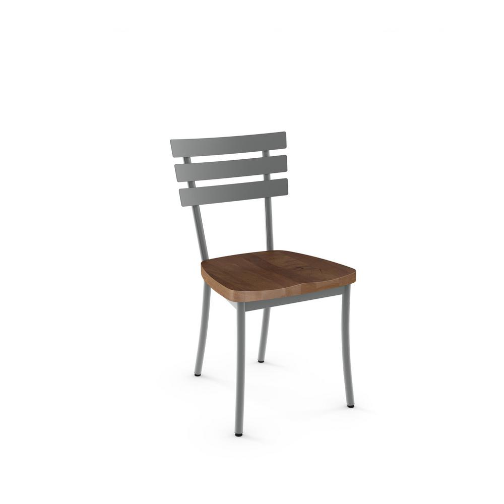 Stadium Glossy Grey with Medium Brown Wood Seat Dining Chair (Set