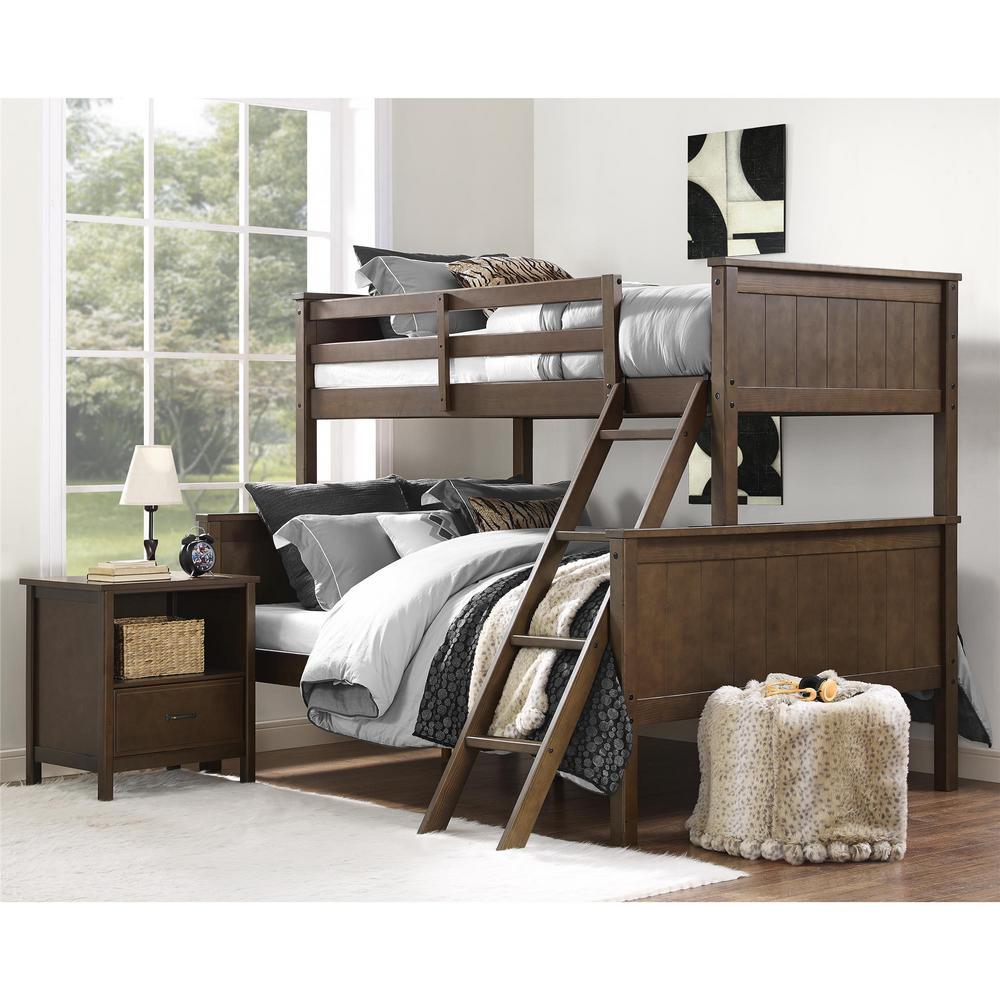 Dorel Mocha Brown Twin Over Full Bunk Bed