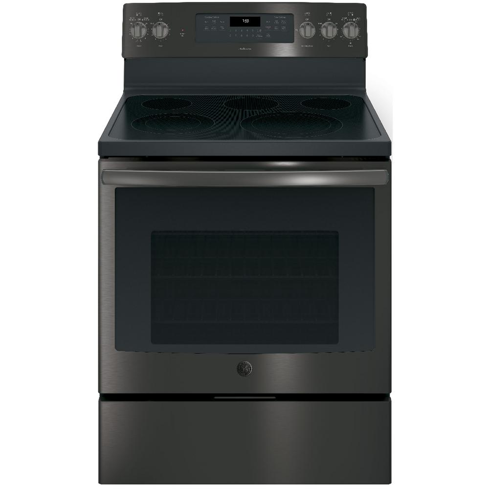 Ge Adora 5 3 Cu Ft Electric Range With Self Cleaning Convection Oven In Black Stainless Steel Fingerprint Resistant Jb755bjts The Home Depot