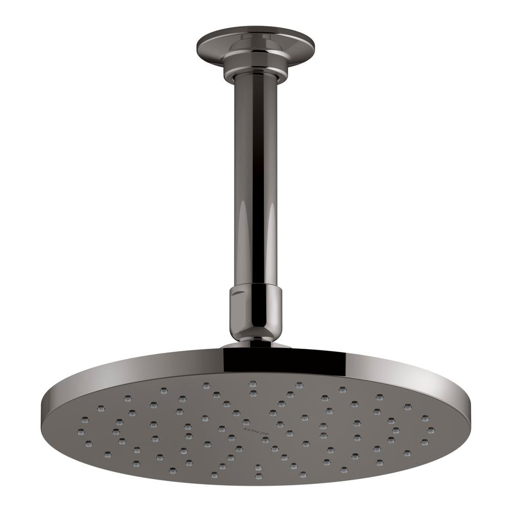 Contemporary 8 in. Round Rain Head Air-Induction 1-Spray Shower Head in