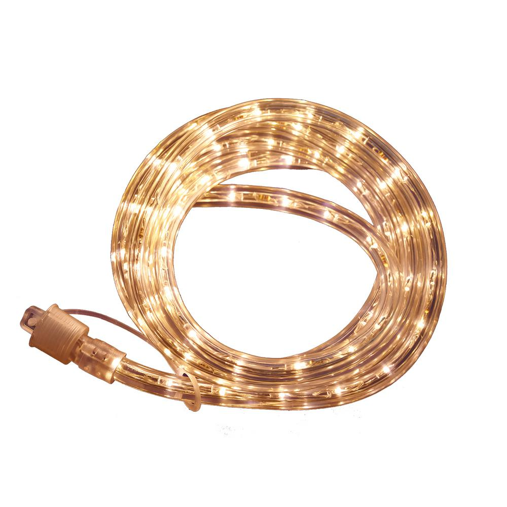 Commercial Electric Outdoor Indoor 8 Ft Line Voltage 120 Volt Soft White Flexible Integrated Led Rope Light Fg 03244 The Home Depot