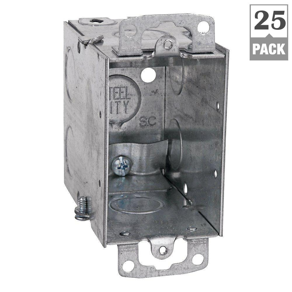 Steel City 1-Gang 3 in. Metal Electrical Box with 1/2 in. Knockouts and Non-Metallic Cable Clamps (Case of 25)