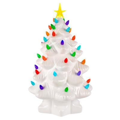 14 in. Christmas Porcelain Nostalgic Tree in White