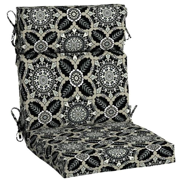 Hampton Bay 21 5 In X 24 In Black Tile Outdoor High Back Dining Chair Cushion Tj1h216b 9d6 The Home Depot