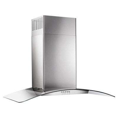 36 in. Concave Glass Wall Mount Range Hood in Stainless Steel