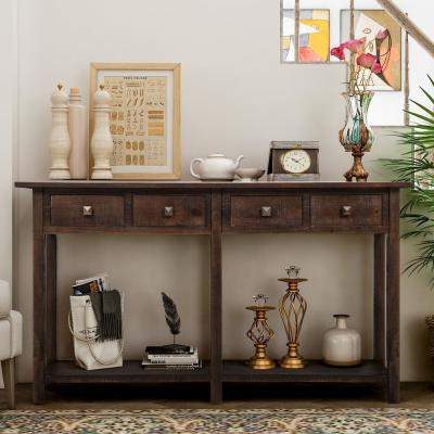 59 in. Espresso Standard Rectangle Wood Console Table with 4-Drawers