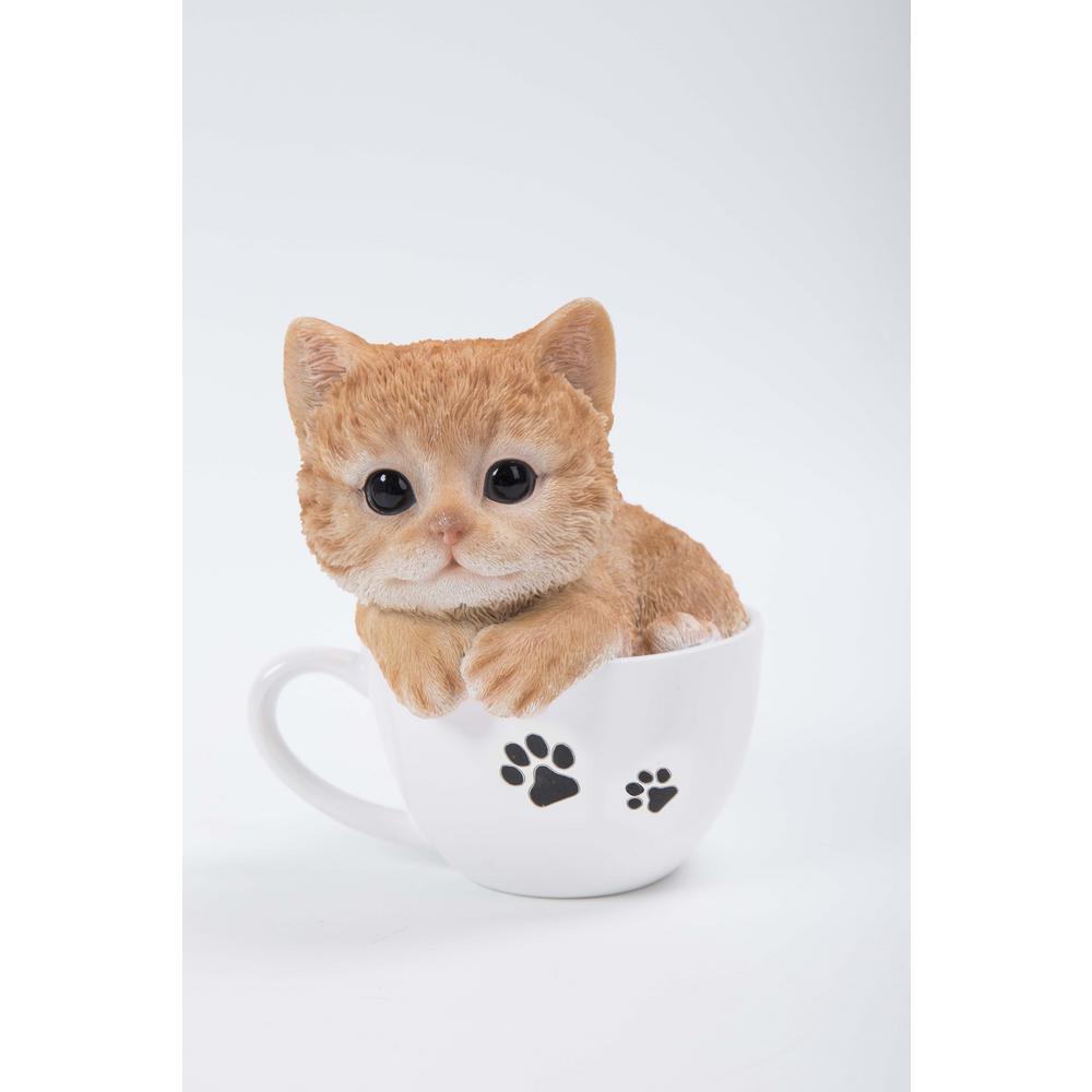 Teacup Kitten Orange Tabby Statue