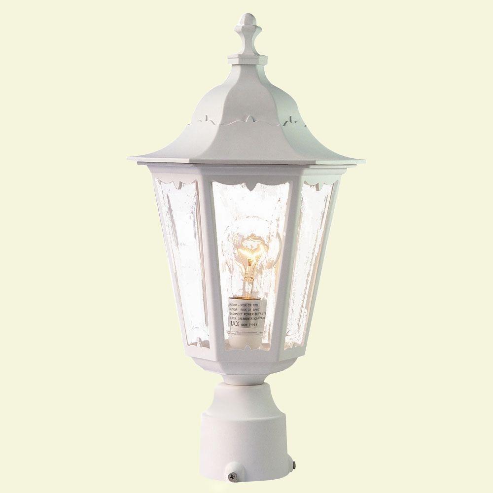 Tidewater 1-Light Textured White Outdoor Post-Mount Light Fixture