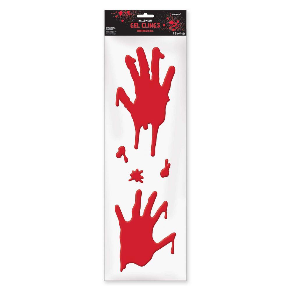 21 in. x 6.5 in. Halloween Bloody Hands Gel Clings (4-Pack)