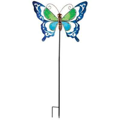 38 in. Blue Butterfly Spring Stake