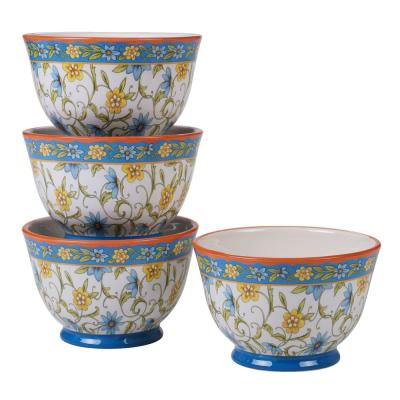 Torino 4-Piece Country/Cottage Multi-Colored Ceramic 28 oz. Ice Cream Bowl Set (Service for 4)