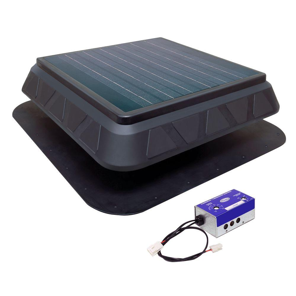 Master Flow 750 CFM Black Resin Solar Powered Attic Fan with Adjustable Thermostat