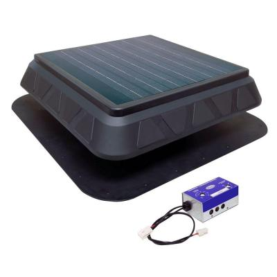 750 CFM Black Resin Solar Powered Attic Fan with Adjustable Thermostat
