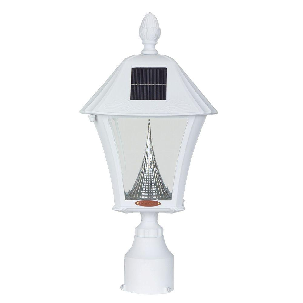 Gama Sonic Baytown Solar White Outdoor Post Light with Warm-White LEDs and 3 in. Fitter Mount