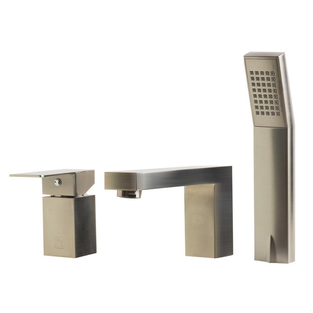 Single-Handle Tub Deck Mount Tub Faucet with Sleek Modern Design in Brushed Nickel