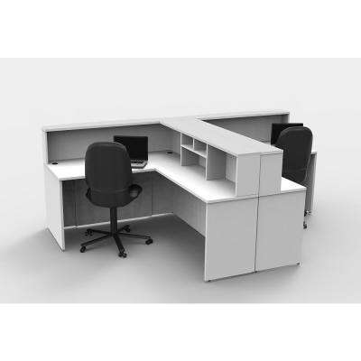 8-Piece White Office Reception Desk Collaboration Center