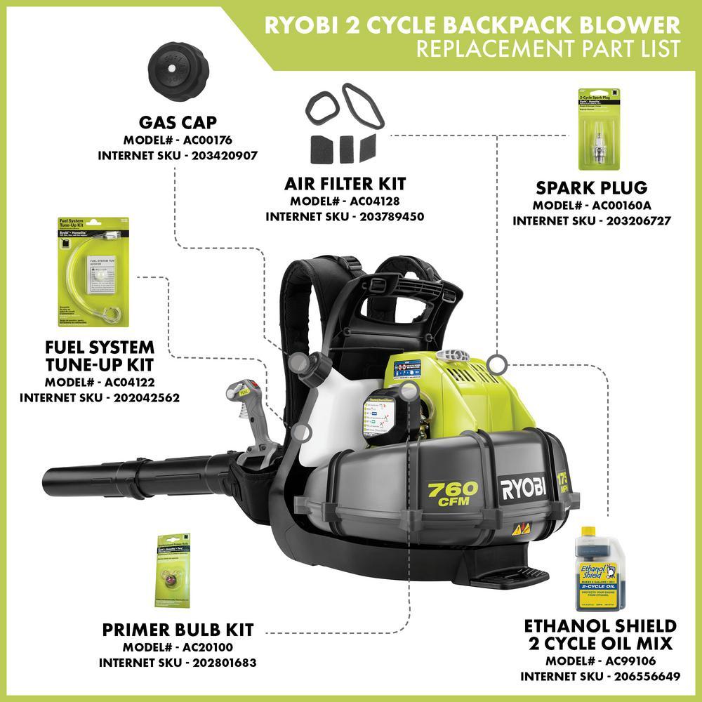 Ryobi 175 Mph 760 Cfm 38cc Gas Backpack Leaf Blower Ry38bp The Home Depot