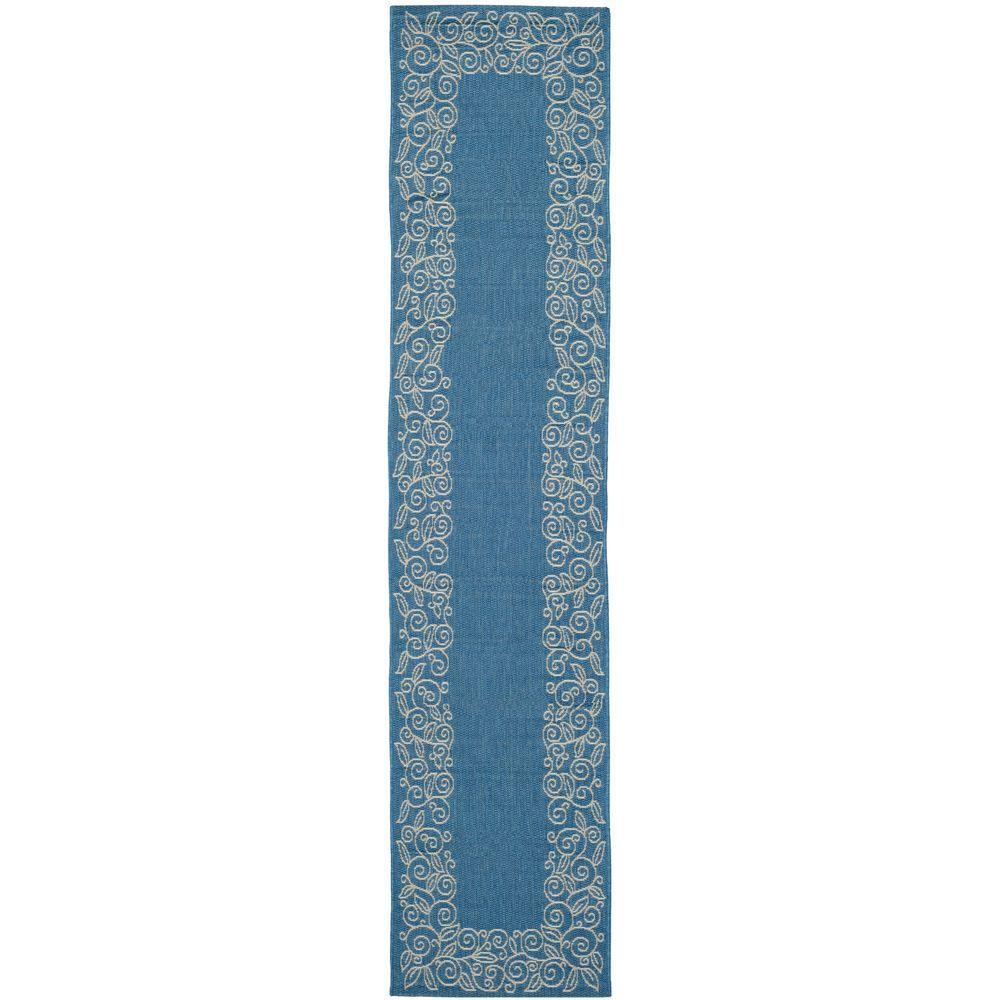 Safavieh Courtyard Blue Beige 2 Ft 4 In X 12 Ft Indoor