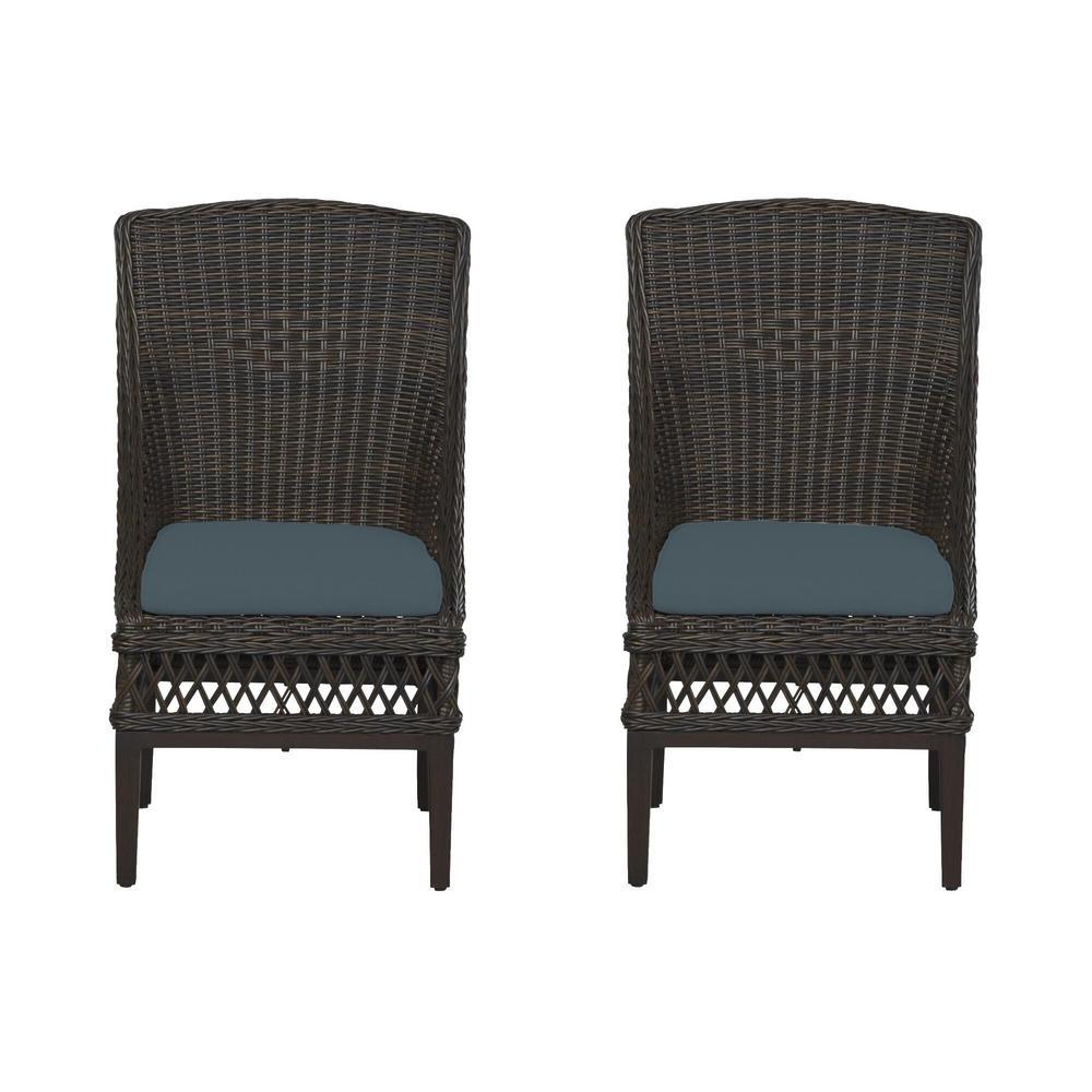 Woodbury Dark Brown Wicker Outdoor Patio Dining Chair with Sunbrella Denim Blue Cushions (2-Pack)