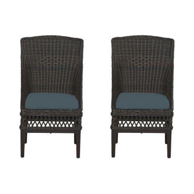 Woodbury Dark Brown Wicker Outdoor Patio Dining Chair with Sunbrella Denim Blue Cushions (2-Pack)