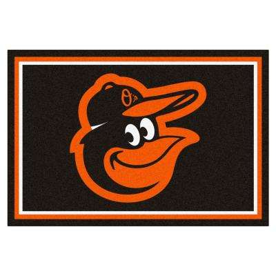 MLB Baltimore Orioles Black 5 ft. x 7 ft. 8 in. Indoor Area Rug