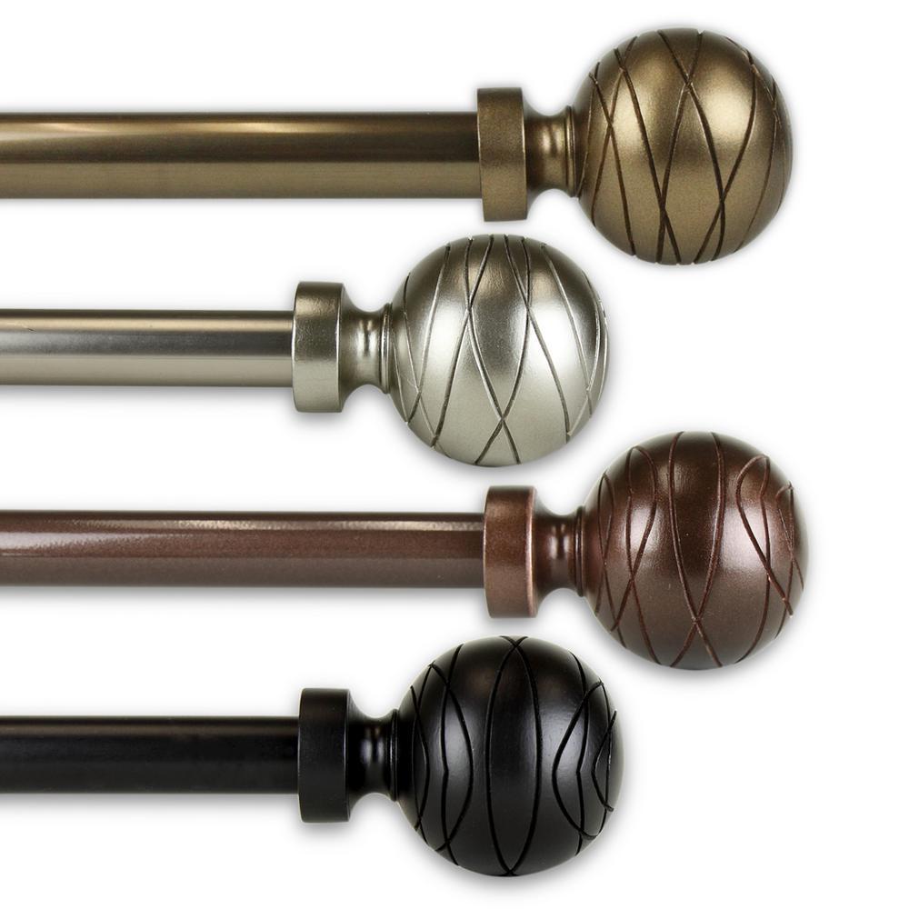 Arman 66 in. - 120 in. Single Curtain Rod in Satin Nickel