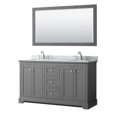Avery 60 in. W x 22 in. D Bath Vanity in Dark Gray with Marble Vanity Top in White Carrara with White Basins and Mirror