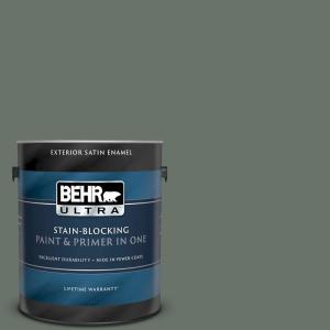 1 gal. #BXC-72 Evergreen Trail Satin Enamel Exterior Paint and Primer in One