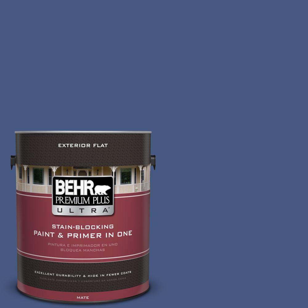 BEHR Premium Plus Ultra 1-gal. #M540-7 Optimum Blue Flat Exterior Paint