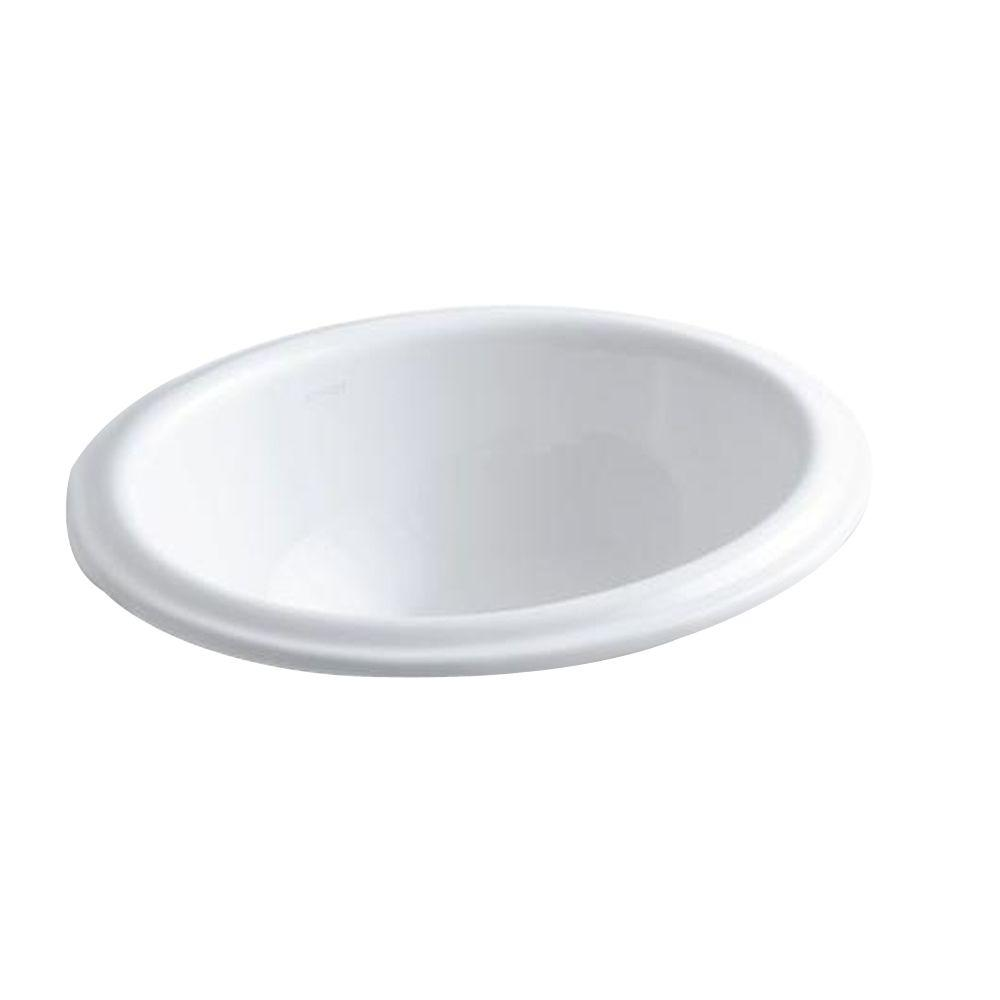 Intaglio Drop-In Drop-In Vitreous China Bathroom Sink in White