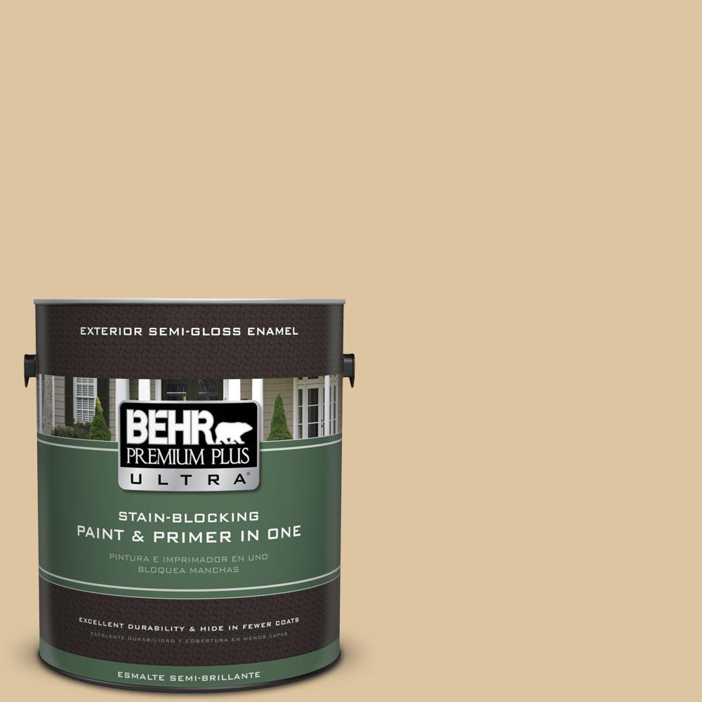BEHR Premium Plus Ultra 1-gal. #320E-3 Riviera Sand Semi-Gloss Enamel Exterior Paint