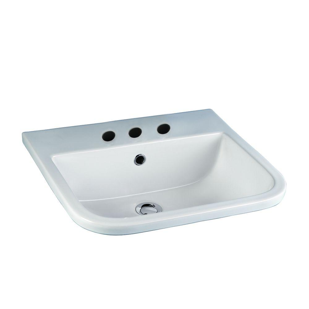 Series 600 Drop-In Bathroom Sink in White