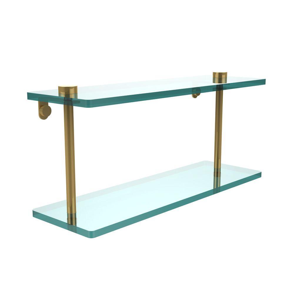 Allied Brass 16 in. L x 8 in. H x 5 in. W 2-Tier Clear Glass Vanity Bathroom Shelf in Polished Brass