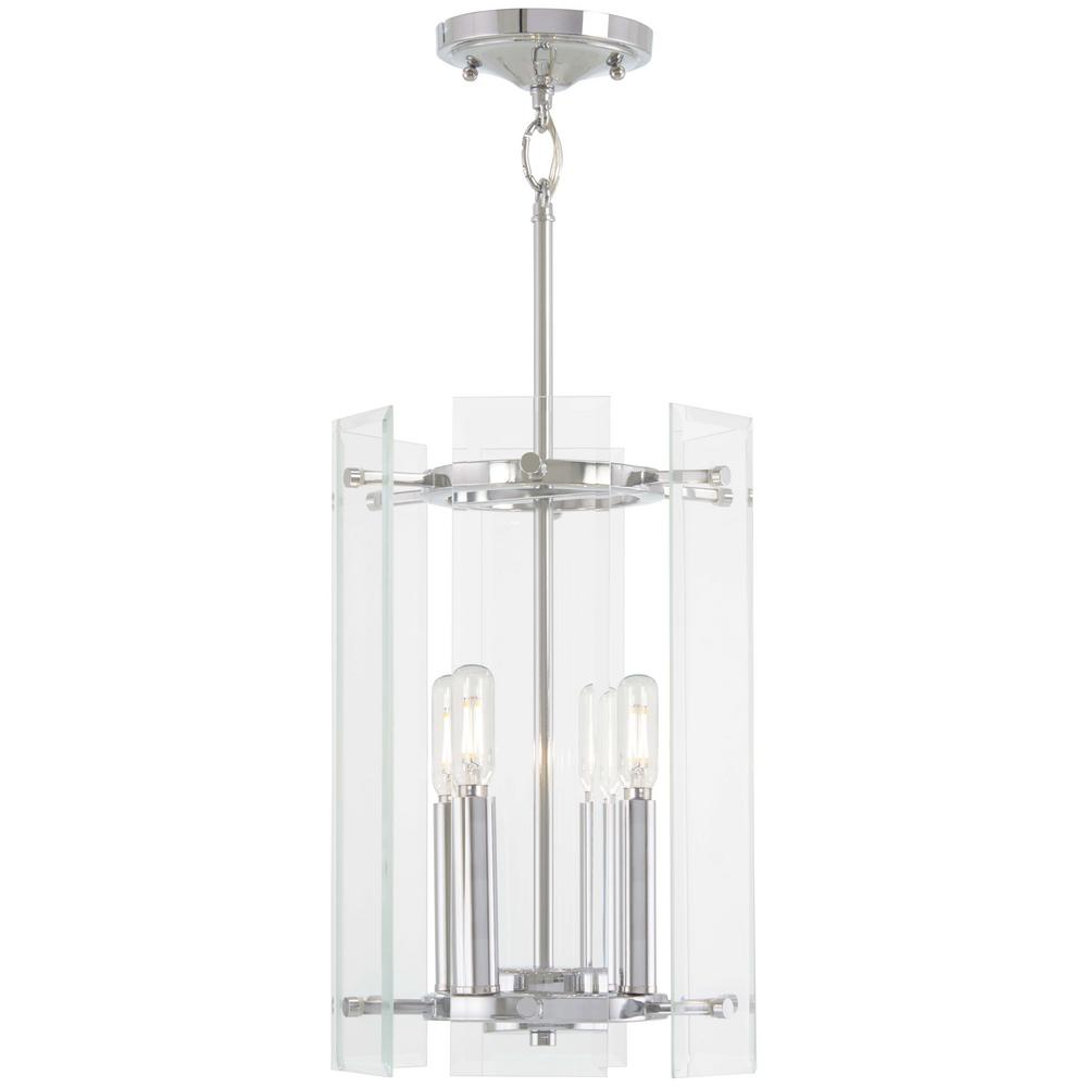 Minka Lavery Beacon Trace 4 Light Chrome Pendant With Clear Beveled