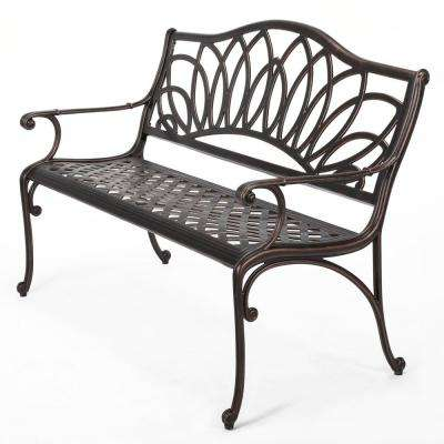 Candy 47.75 in. Shiny Copper Cast Outdoor Bench