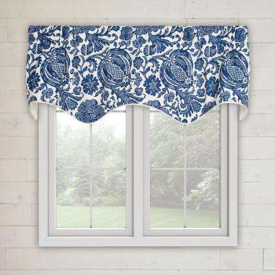 Batik 15 in. L Cotton Lined Scallop Valance in Indigo