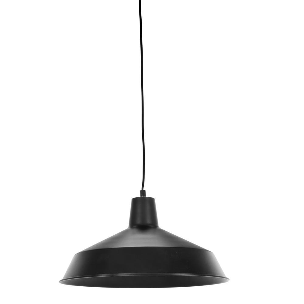 Barnyard 1-Light 16 in. Industrial Warehouse Matte Black Plug-In Pendant