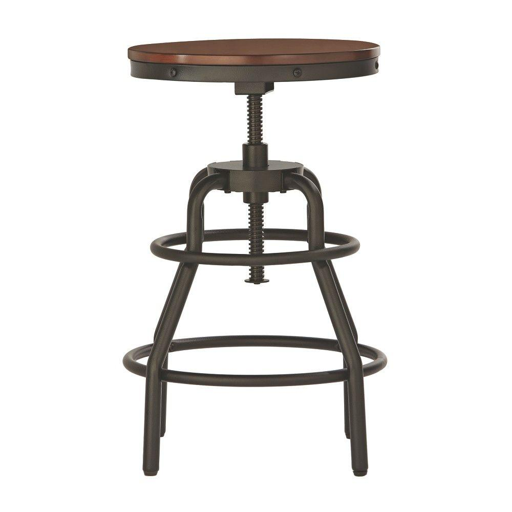Home Decorators Collection Industrial Mansard Adjustable Height Black Bar  Stool