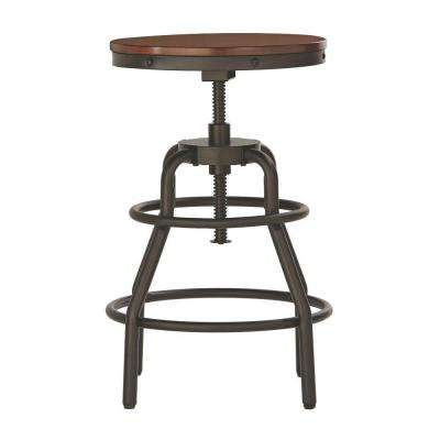 Industrial Mansard Adjustable Height Black Bar Stool