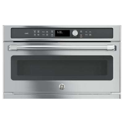 Cafe 30 in. Single Electric Convection Wall Oven with Built-In Microwave in Stainless Steel