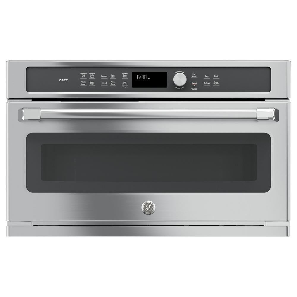 GE Cafe 30 in. Electric Convection Wall Oven with Built-In Microwave in Stainless Steel