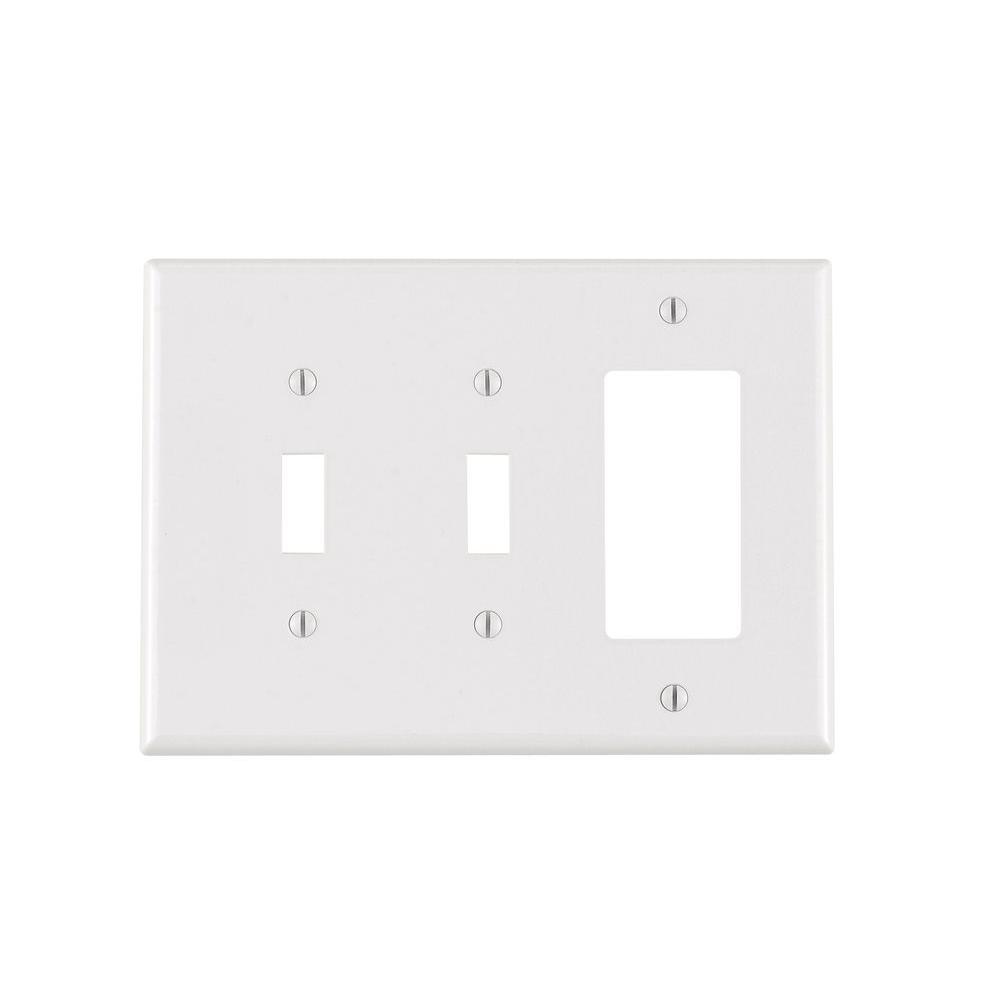2 Toggle 1 Decorator Rocker Combination Wall Plates Wiring A Plug Switch Combo Decora 3 Gang Midway Nylon Plate White