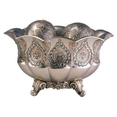 Silver Paisley Polyresin Decorative Bowl With Spheres