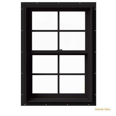 25.375 in. x 36 in. W-2500 Series Black Painted Clad Wood Double Hung Window w/ Natural Interior and Screen