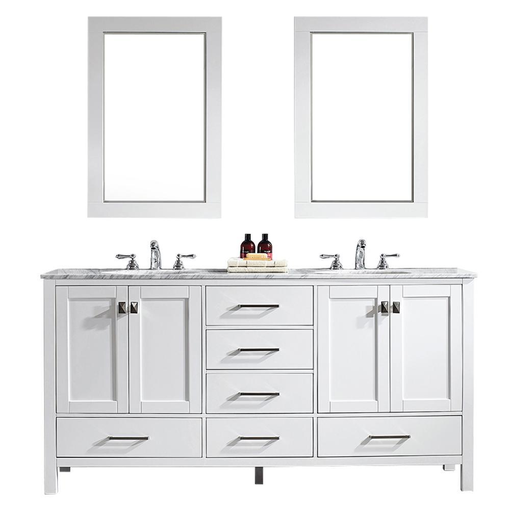 Gela 72 in. W x 22 in. D x 35 in. H Vanity In White with Marble Vanity Top in White with White Basin and Mirror