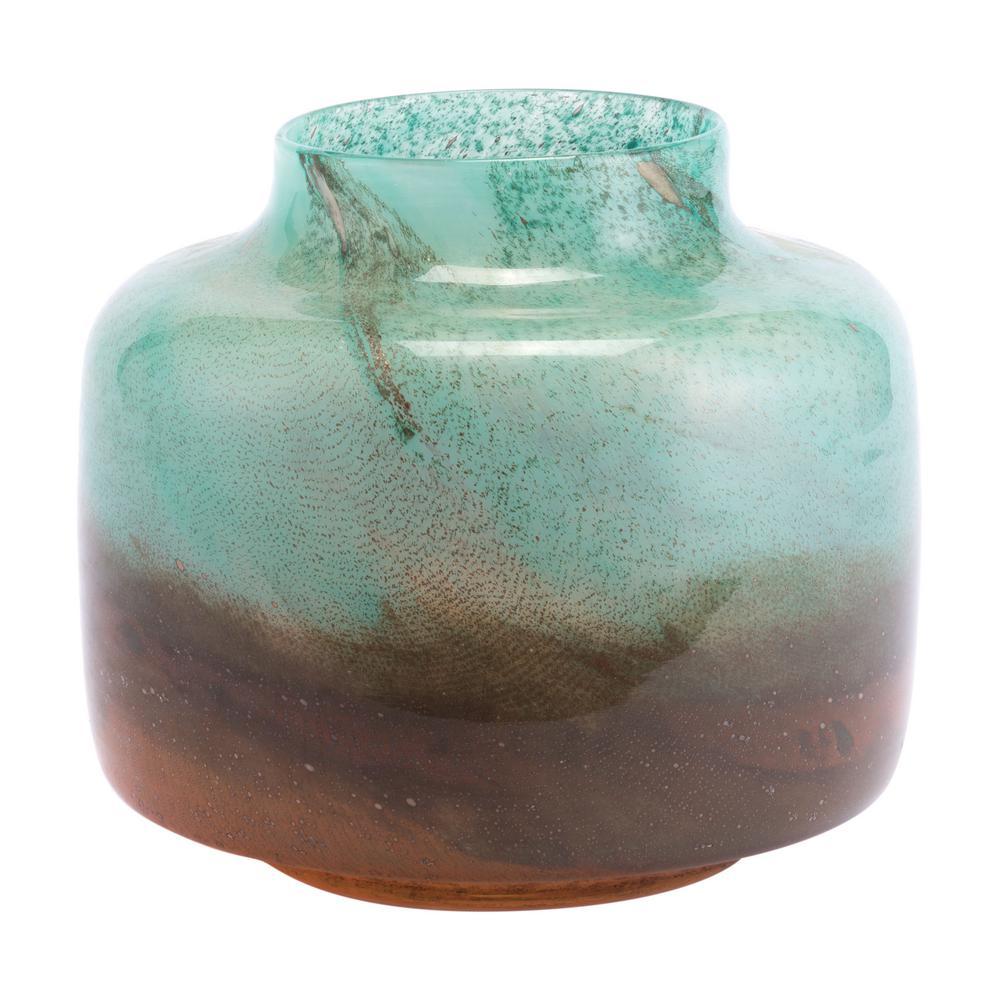 Translucent Green and Orange Joo Large Decorative Vase
