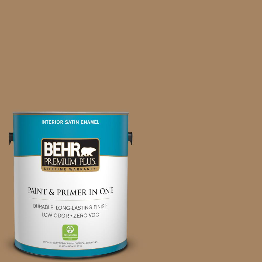 BEHR Premium Plus 1-gal. #290F-5 Wooden Swing Zero VOC Satin Enamel Interior Paint, Browns/Tans