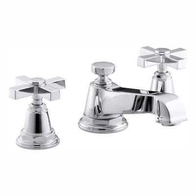 Pinstripe Pure 8 in. Widespread 2-Handle Low-Arc Water-Saving Bathroom Faucet in Polished Chrome