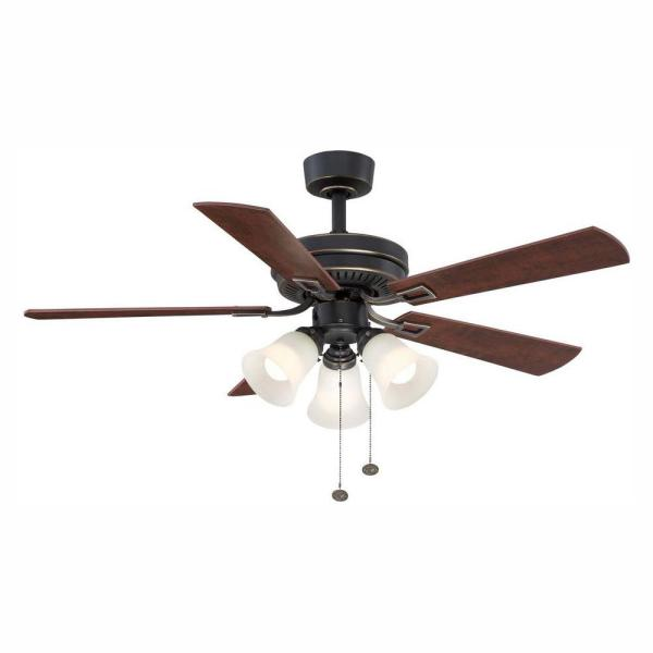 Hampton Bay Sinclair 44 In Led Indoor Tarnished Bronze Ceiling Fan With Light Kit Al958 Tb The Home Depot