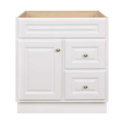 Hampton 30 in. W x 21 in. D x 33.5 in. H Bathroom Vanity Cabinet Only in White